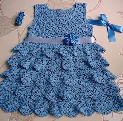 Vestido infantil em crochê  com gráfico