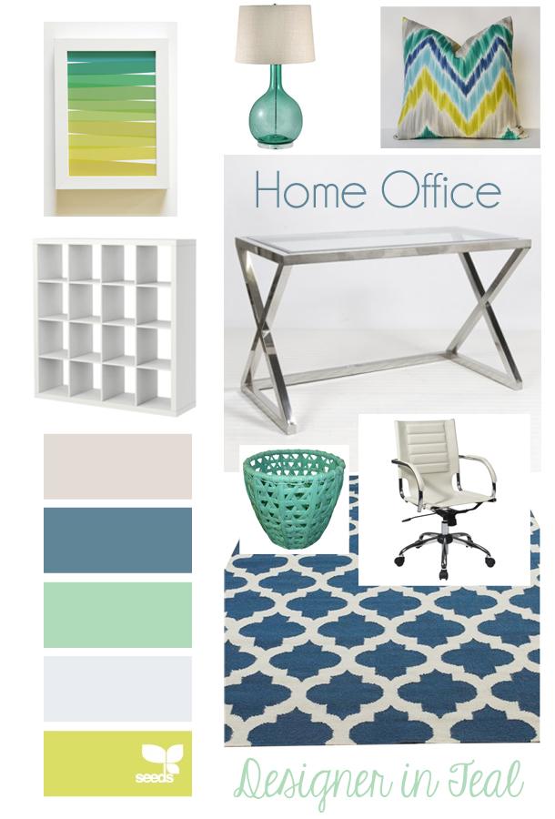 Designer In Teal Mood Board Home Office
