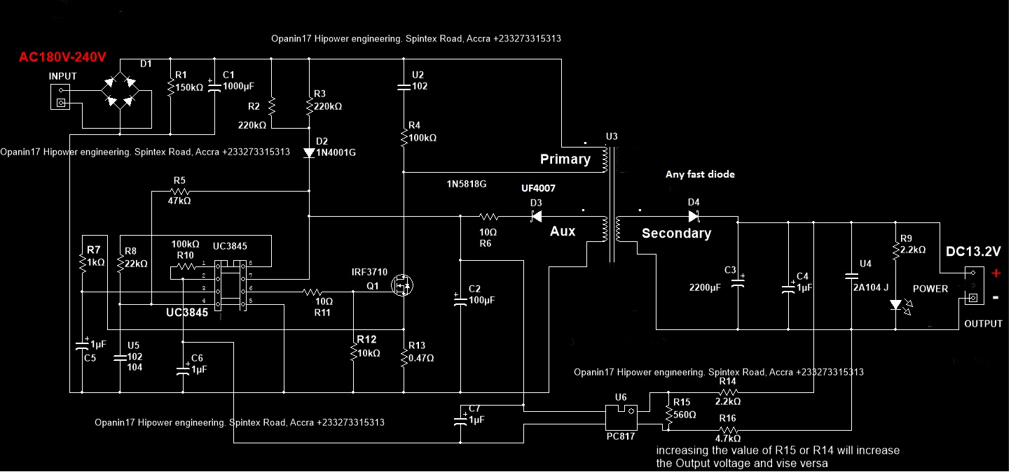 example 2 lets make a ferrite transformer to step down 180v 240v ac to 13 2v dc using the circuit below  [ 1443 x 675 Pixel ]