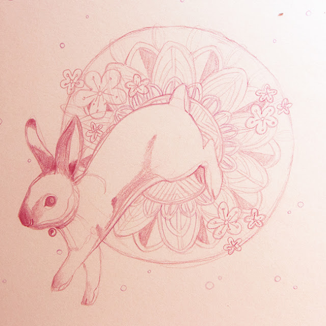 Mid-Autumn, Jade Rabbit, Mooncake, Blossom Illustration Claire O'Brien Dazhka Claire