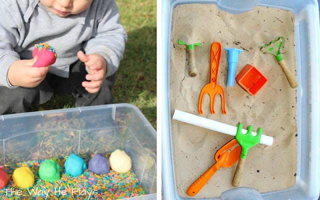 Sensory play in sensory table