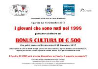 Bonus cultura per i nati nel 1998