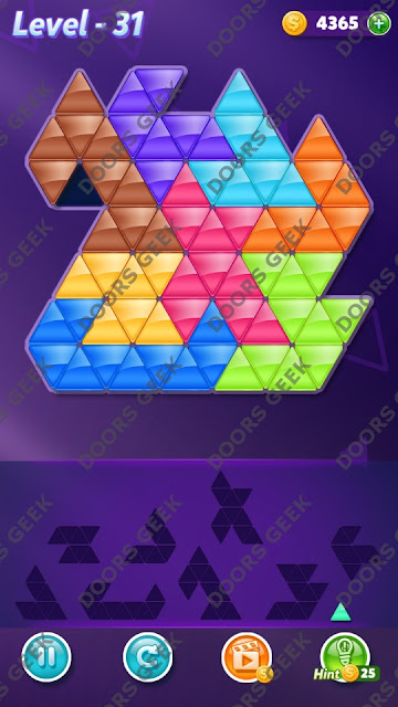 Block! Triangle Puzzle 9 Mania Level 31 Solution, Cheats, Walkthrough for Android, iPhone, iPad and iPod