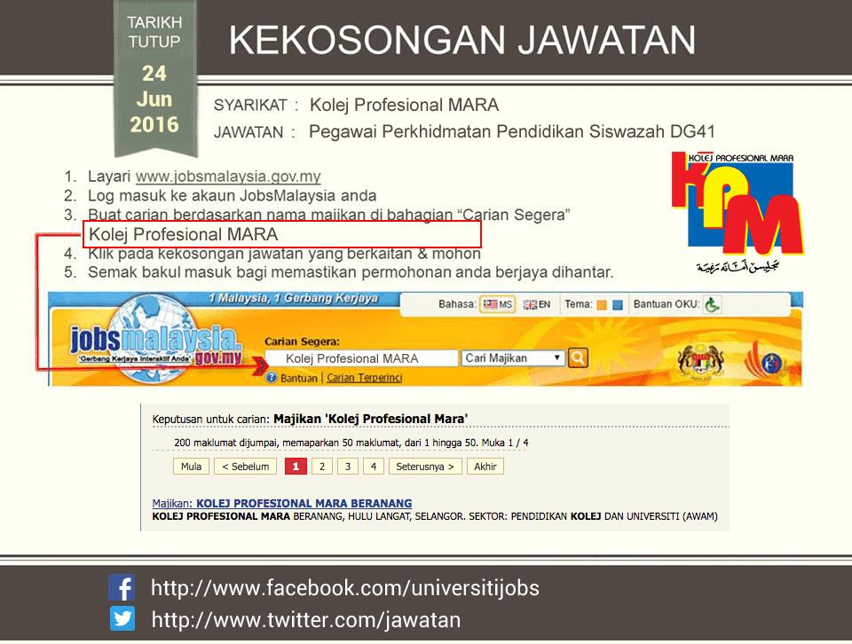 Jawatan Kosong Kolej Profesional MARA Terkini 24 Jun 2016