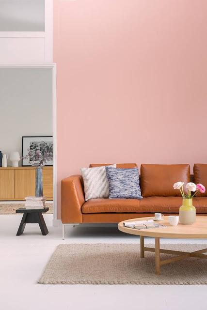 Habitat : canapé cuir, mur rose