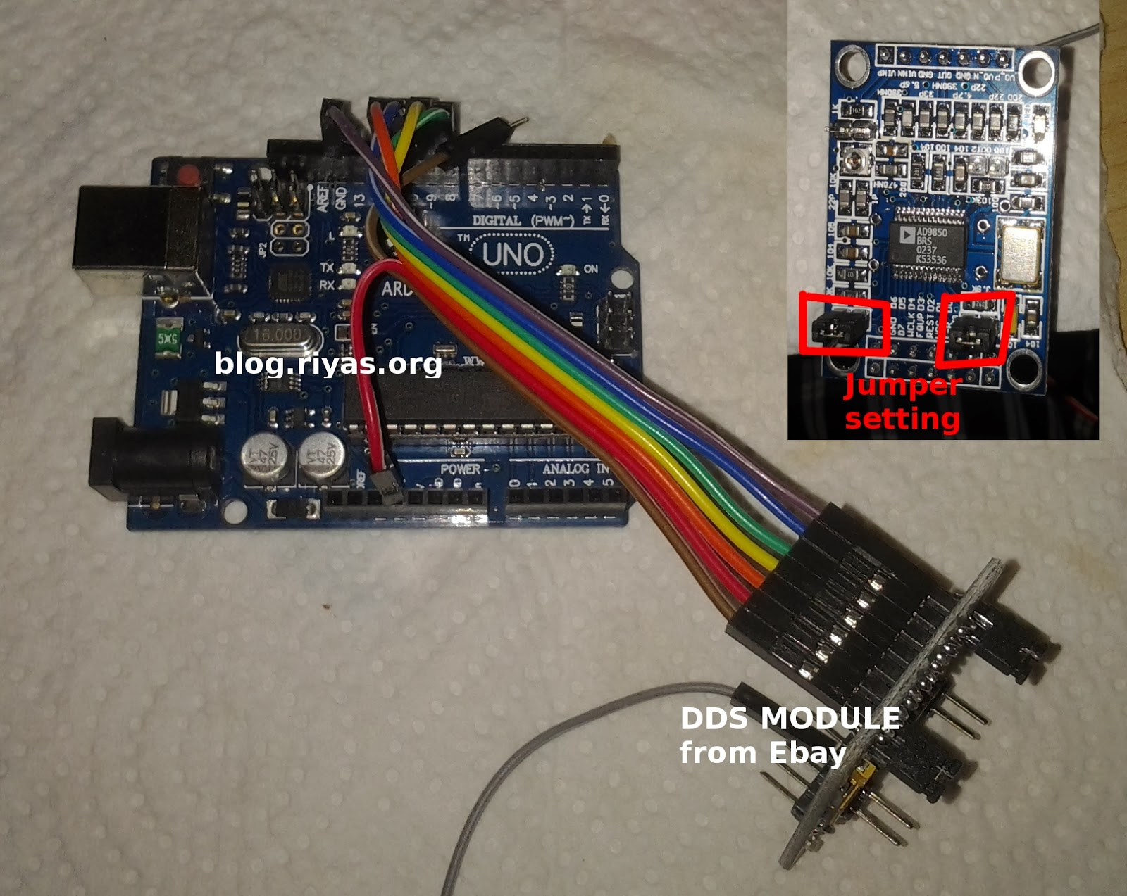 Learn on the fly : Quickly test an AD9850 ebay module with