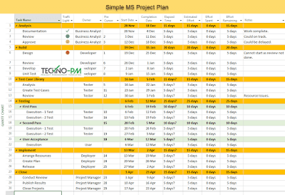 simple MS project plan