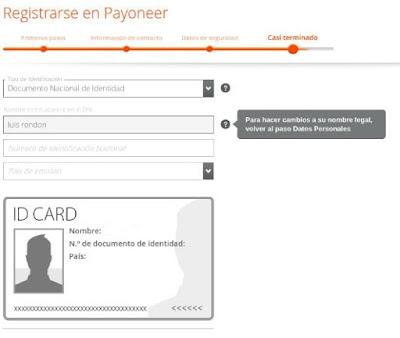 Solicitud tarjeta payoneer 4