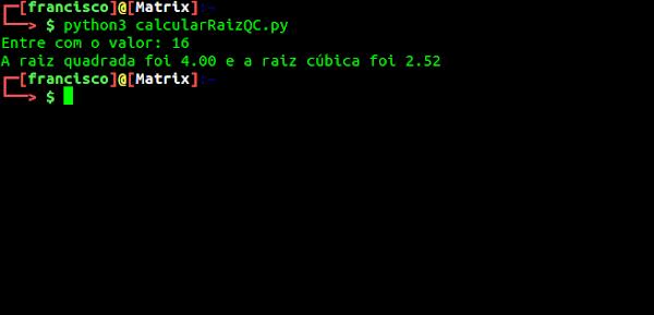 Resultado da execução do script Python