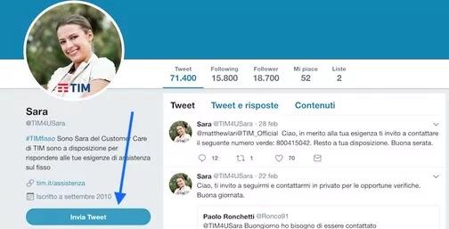 profilo @sara per essere contattati da un operatore tim con un tweet