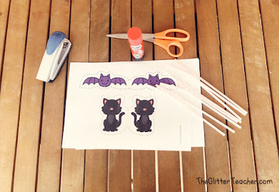 Marionetas imprimibles de papel para colorear y montar con los personajes de Halloween