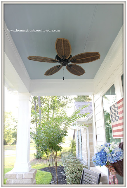 Porch Ceiling Makeover-New Paint-Haint Blue-Blue Ceiling-Ceiling Fan-FRont Porch- From My Front Porch To Yours