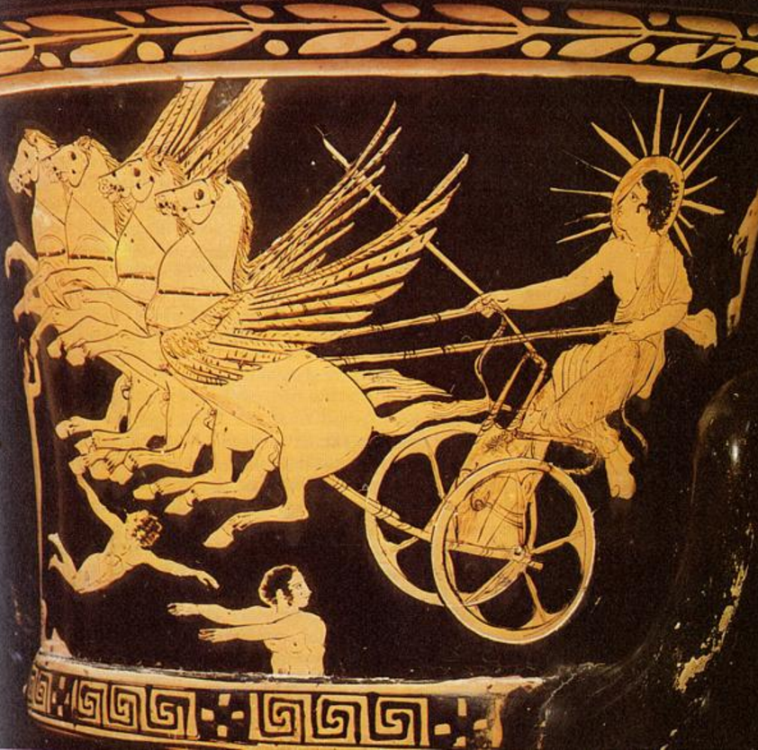 It Was In Trinacria That Sun God Helios Kept His Cattle Homer Refers To As The A Mighty Charioteer Driving Flaming Chariot From East