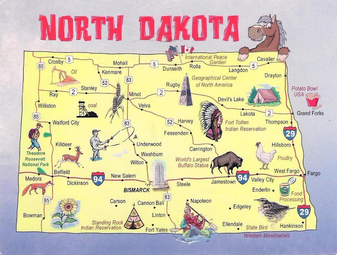 More POSTCARDS & STAMPS: USA - Map - North Dakota