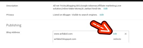 edit blogger blog address