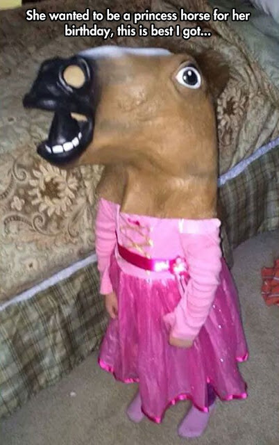 funny parenting, funny halloween costumes, she wanted to be a princess horse