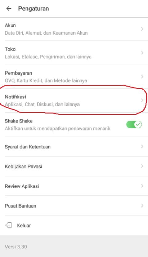 Klik Menu Notifikasi Pada Pengaturan di Tokopedia