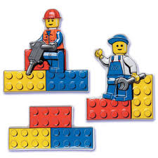 Lego men constructing with legos