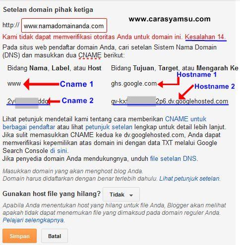Cara mengetahui cname dan hostname di Blogger