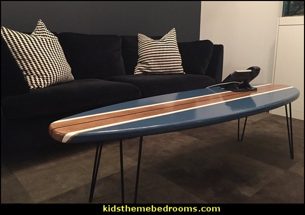 Surfboard Coffee Table Natural Wood and Navy Blue   surfing bedroom - beach surf themed bedroom ideas - surfer girl themed bedrooms - surf decor for bedroom  - beach theme bedrooms - surfer girls - girls surfing themed bedroom ideas - surfer boys - surfing themed bedroom decorating ideas - beach bedrooms - raffia valance window ideas - 3d wall decorations - surfing decor - surfer girls surfing bedrooms surf bedding -  coastal living style -