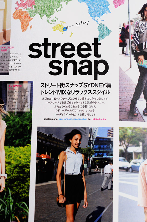 Street Fashion, Street Snap Sydney - Title Page for Nylon Japan
