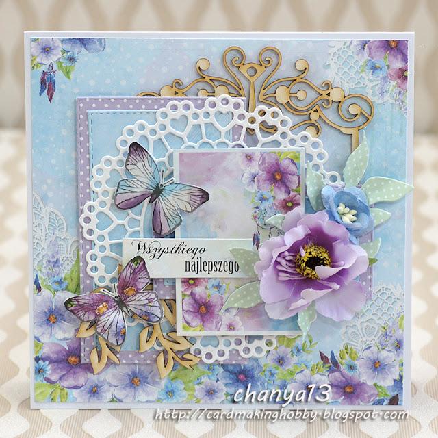 244. Kartka urodzinowa z motylami