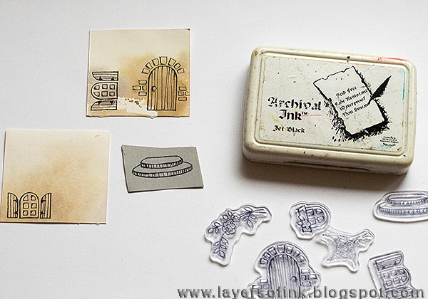Layers of ink- Fairy Tale Cottage/Hobbit House tutorial by Anna-Karin: Eileen Hull and Stampendous Hop