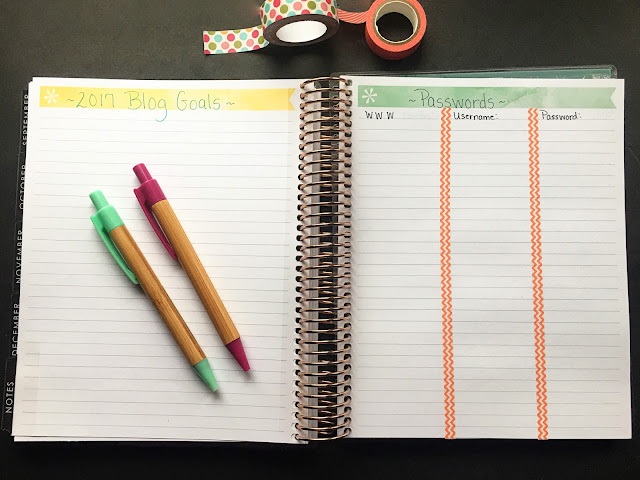 My Erin Condren planner laid open the the notebook pages in the back.