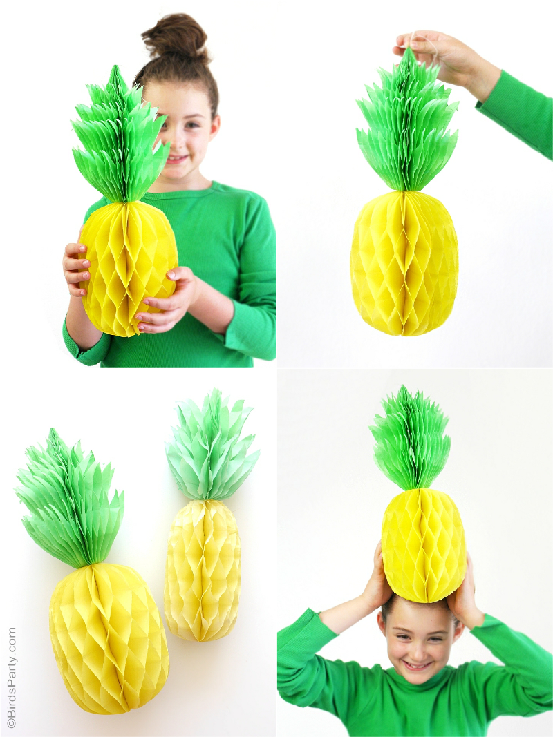 diy pineapple honeycomb party decorations birdspartycom - Diy Decorations