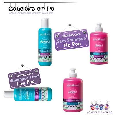 Lançada na beauty Fair 2016 a Linha Cacheou! - Surya Vegana liberada para No Poo (Cowash / Condicionador, creme para pentear/leave in e Gel / Gelatina) e Low Poo (Shampoo sem sulfato)