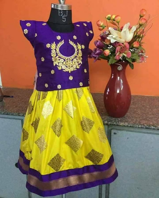 Lemon Yellow Purple Kids Lehenga