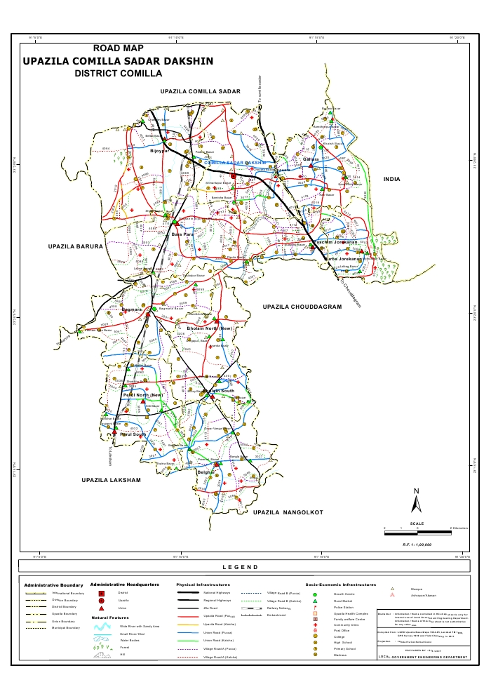 Comilla Sadar (Dakshin) Upazila Road Map Comilla District Bangladesh