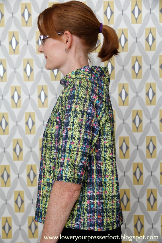 Burda 2/2016 #118 short sleeve raglan top in neon yellow and pink fabric www.loweryourpresserfoot.blogspot.com