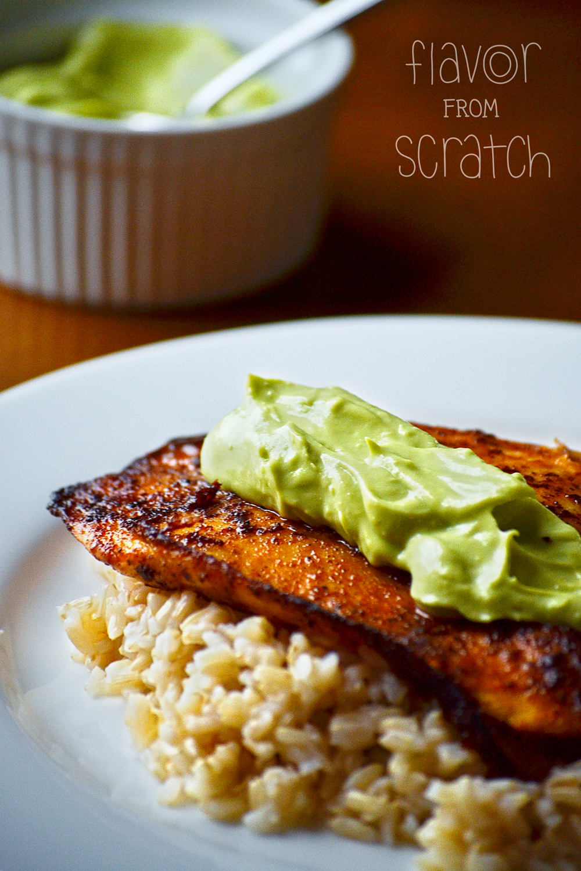 Spicy Fish with an Avocado & Greek Yogurt Sauce
