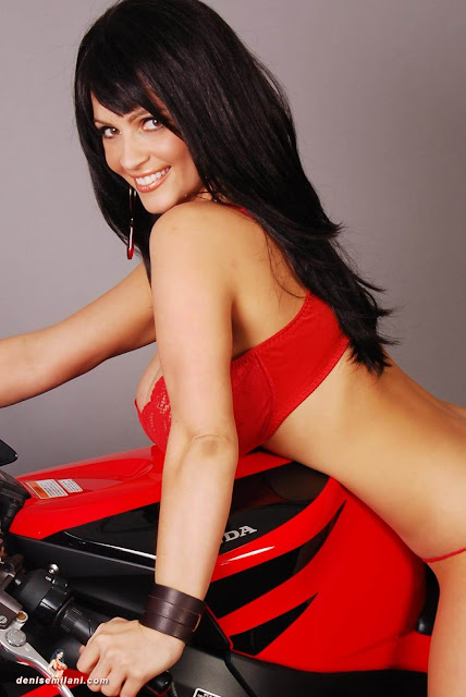 Denise-Milani-Bike-Photoshoot-in-red-hot-bikini-picture-2