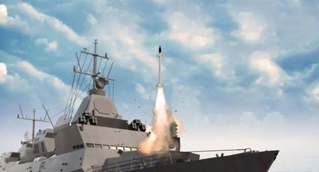 Ilustrasi kapal perang India menembakkan rudal Barak 8