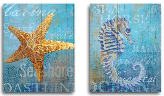 Starfish Seahorse Canvas Beach Art Two Piece Set