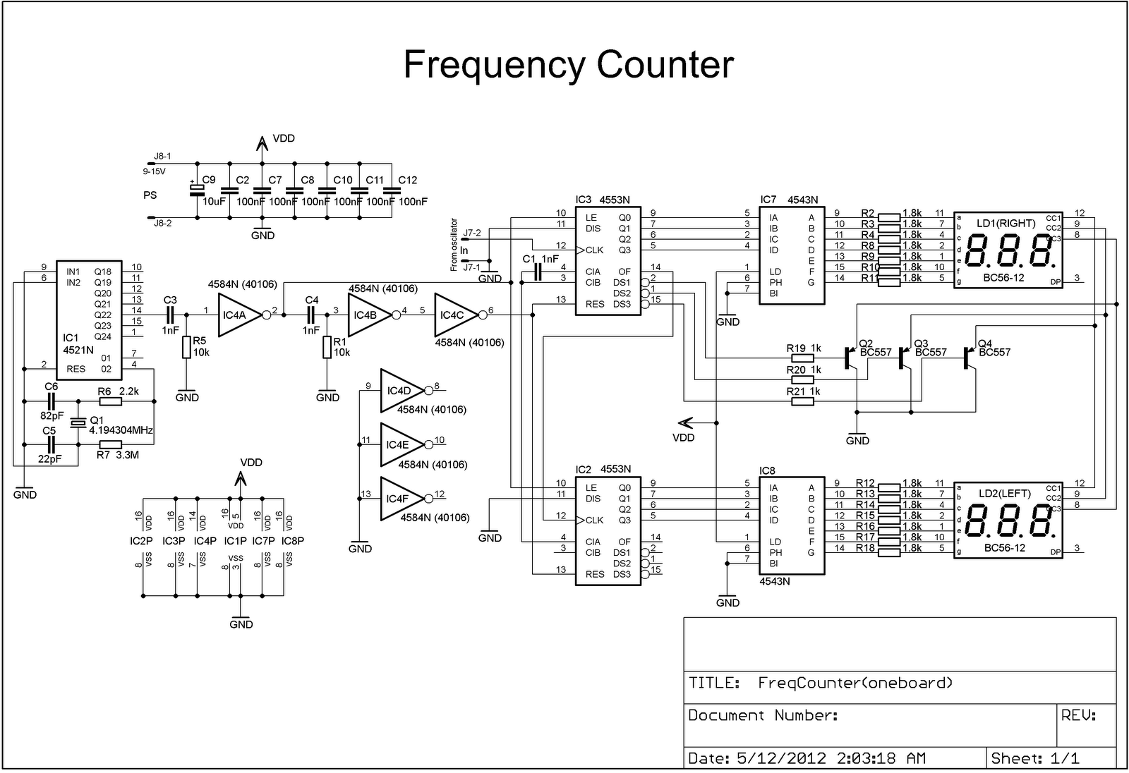 Diyfan Audio Oscillator With Frequency Counter Simple Circuit Diagrams For During This Period Input Signal Is Counted And The Result Displayed On Six 7 Segment Led Indicators Accuracy Of Depends