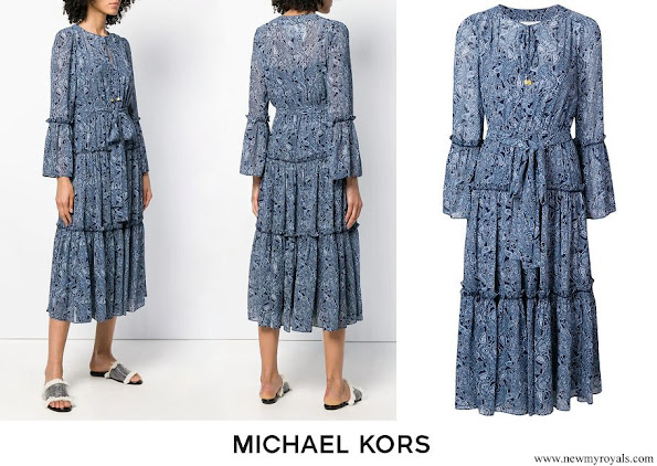 Crown Princess Mary wore Michael Michael Kors jacquard print maxi dress