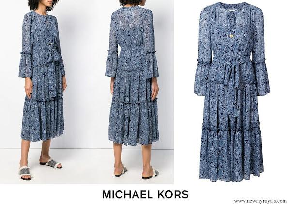 Crown Princess Mary wore Michael Michael Kors jacquard print maxi dress