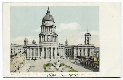 Postcard of SF City Hall, pre-1906, from NYPL Digital Collections