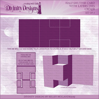 Divinity Designs Custom Die: Half Shutter Card with Layers