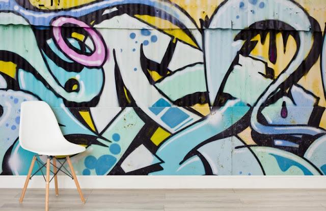 Tapet Graffiti ungdomstapet blå