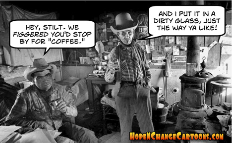 stilton jarlsberg, cowboys, hope and change, coffee