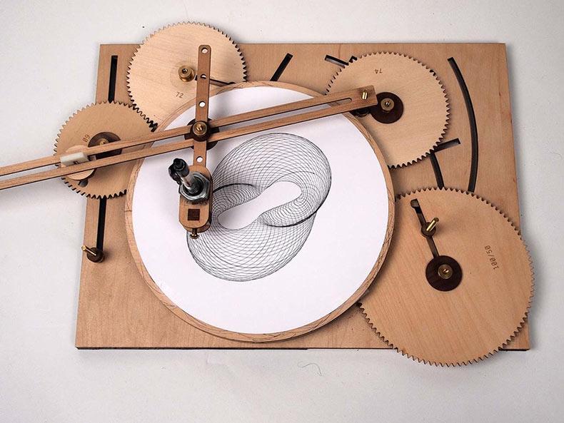Máquina de madera Cycloid Drawing crea diseños geométricos infinitos
