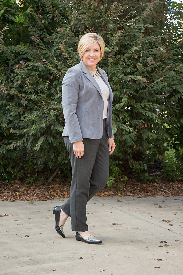 grey ankle pants outfit, loafer outfit, womens office outfit
