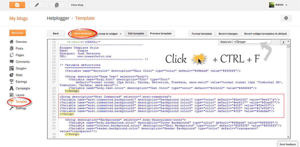 add code to blogger html