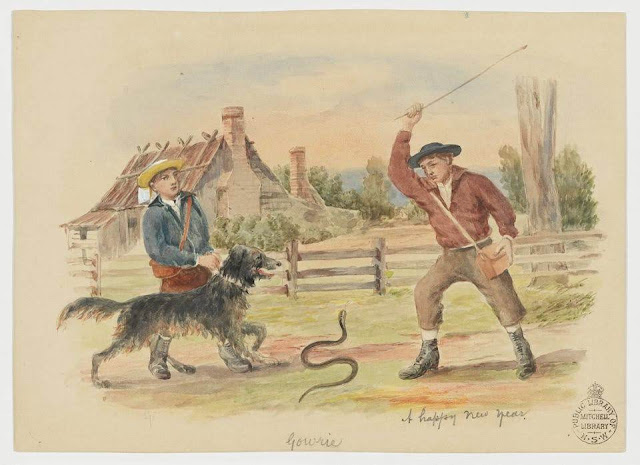 """Christmas Card design depicting two men, one with a whip fighting a snake, the other holding a dog by the leash, with the words """"A Happy New Year""""."""