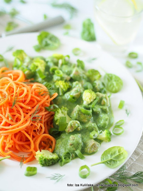 kawalki kurczaka, drob, co na obiad, mieso w sosie, zielony sos, zielenina, zdrowo i smacznie, lekki obiad, machewka, zamiast makaronu, warzywa