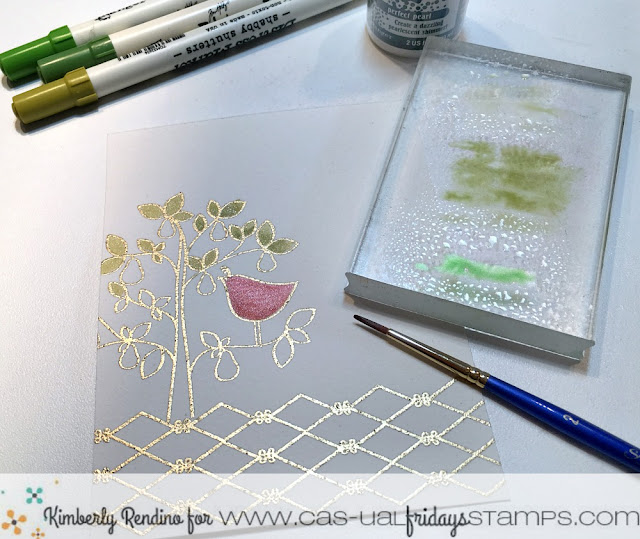 watercolor | heat embossing | partridge in a pear tree | cas-ual fridays | clear stamps | kimpletekreativity.blogspot.com | handmade card | distress markers | cardmaking | holiday | christmas